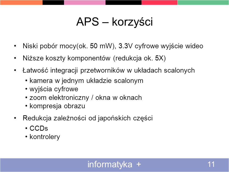 APS – korzyści Niski pobór mocy(ok. 50 mW), 3.3V cyfrowe wyjście wideo Niższe koszty komponentów (redukcja ok. 5X) Łatwość integracji przetworników w