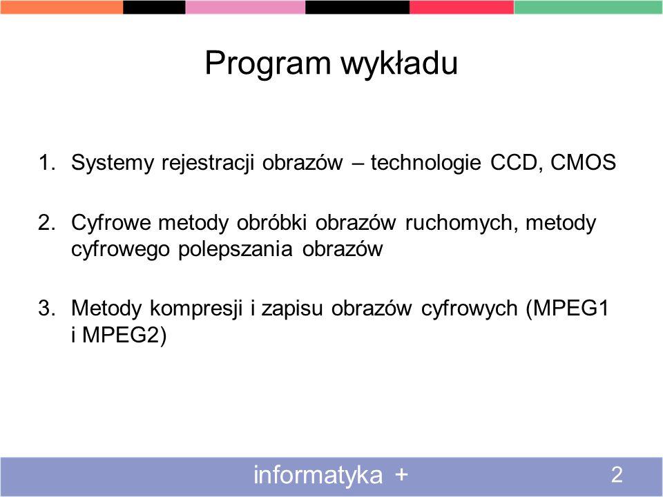 Program wykładu 1.Systemy rejestracji obrazów – technologie CCD, CMOS 2.Cyfrowe metody obróbki obrazów ruchomych, metody cyfrowego polepszania obrazów