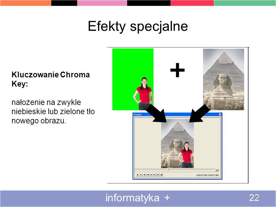 Efekty specjalne informatyka + 22 Kluczowanie Chroma Key: nałożenie na zwykle niebieskie lub zielone tło nowego obrazu.