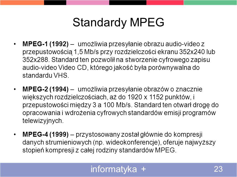 Standardy MPEG MPEG-1 (1992) – umożliwia przesyłanie obrazu audio-video z przepustowością 1,5 Mb/s przy rozdzielczości ekranu 352x240 lub 352x288. Sta