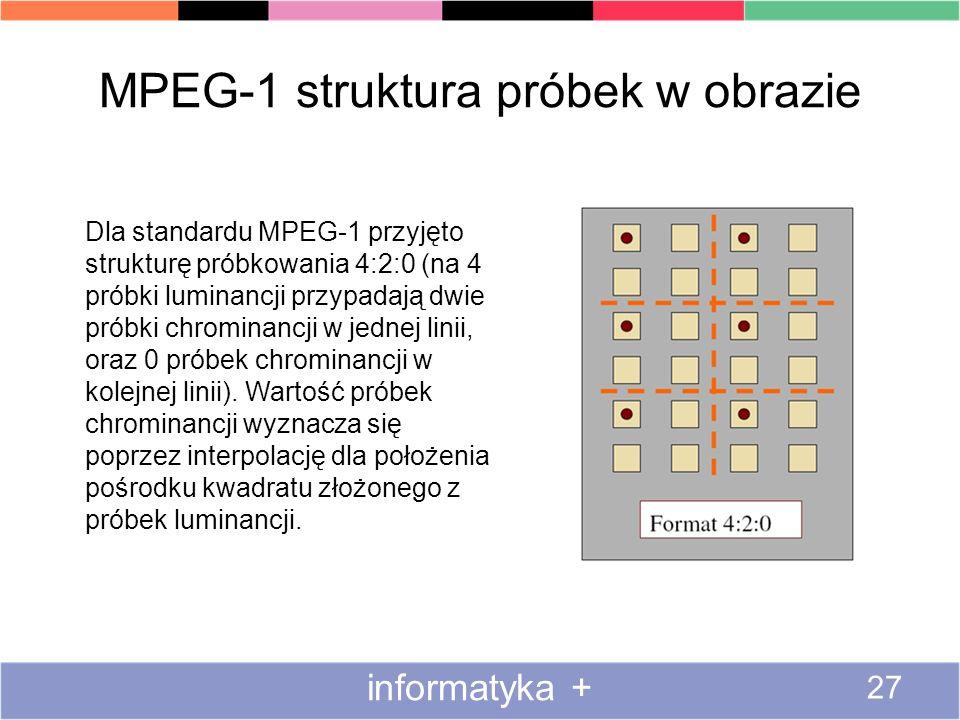 MPEG-1 struktura próbek w obrazie informatyka + 27 Dla standardu MPEG-1 przyjęto strukturę próbkowania 4:2:0 (na 4 próbki luminancji przypadają dwie p