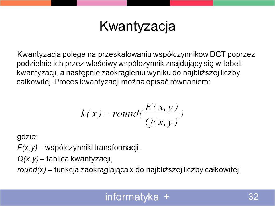 Kwantyzacja Kwantyzacja polega na przeskalowaniu współczynników DCT poprzez podzielnie ich przez właściwy współczynnik znajdujący się w tabeli kwantyz