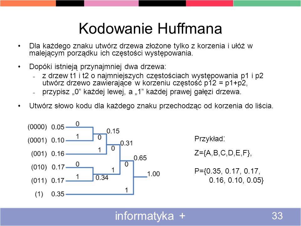 Kodowanie Huffmana informatyka + 33 Dla każdego znaku utwórz drzewa złożone tylko z korzenia i ułóż w malejącym porządku ich częstości występowania. D