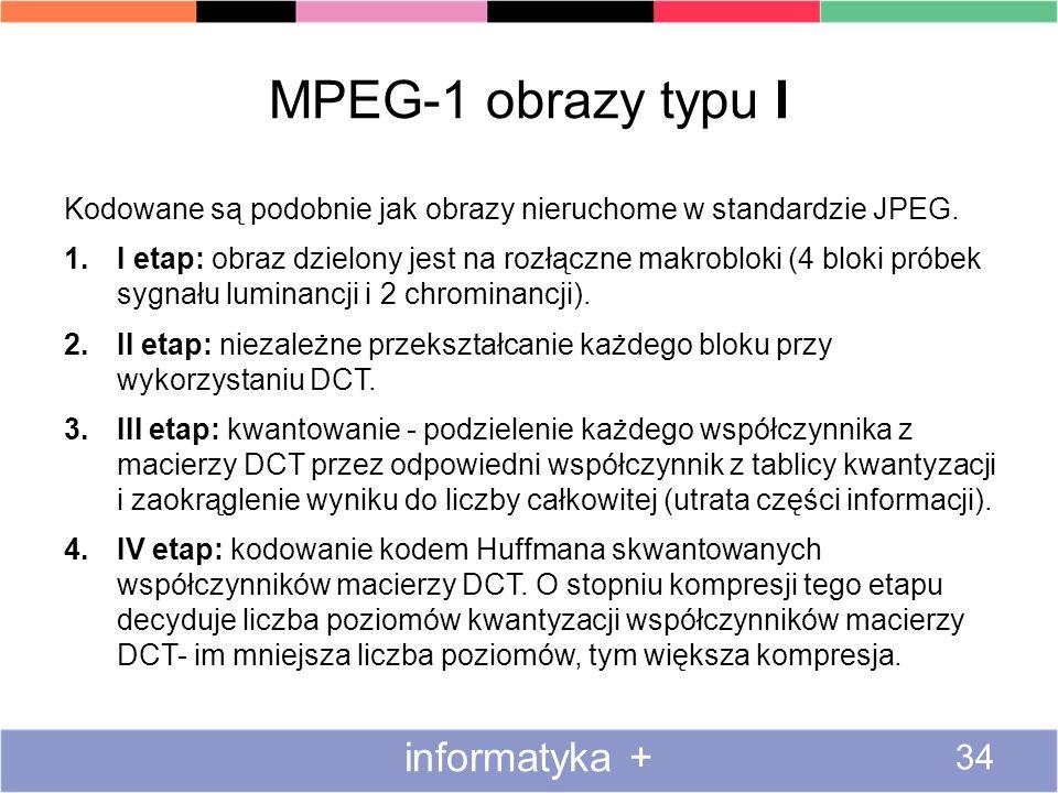 MPEG-1 obrazy typu I Kodowane są podobnie jak obrazy nieruchome w standardzie JPEG. 1.I etap: obraz dzielony jest na rozłączne makrobloki (4 bloki pró
