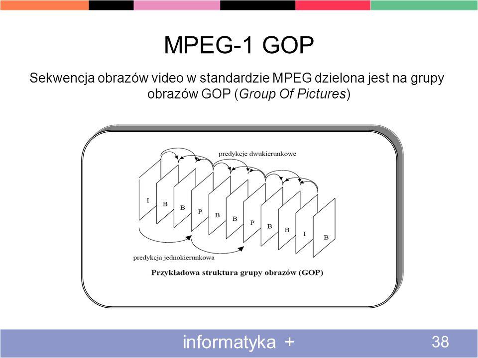 MPEG-1 GOP informatyka + 38 Sekwencja obrazów video w standardzie MPEG dzielona jest na grupy obrazów GOP (Group Of Pictures)