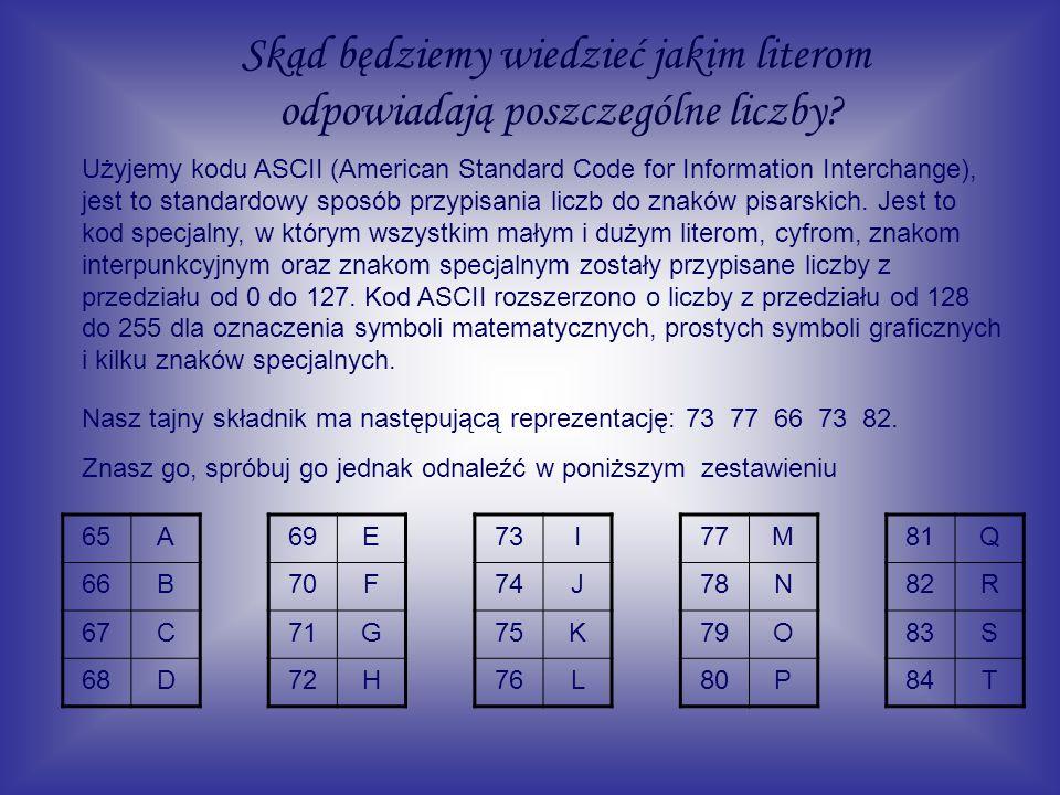 Skąd będziemy wiedzieć jakim literom odpowiadają poszczególne liczby? Użyjemy kodu ASCII (American Standard Code for Information Interchange), jest to