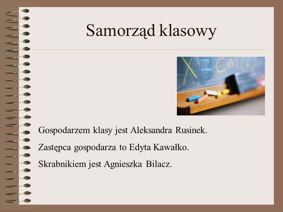 Samorząd klasowy Gospodarzem klasy jest Aleksandra Rusinek. Zastępca gospodarza to Edyta Kawałko. Skrabnikiem jest Agnieszka Bilacz.