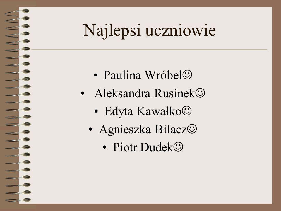 Najlepsi uczniowie Paulina Wróbel Aleksandra Rusinek Edyta Kawałko Agnieszka Bilacz Piotr Dudek