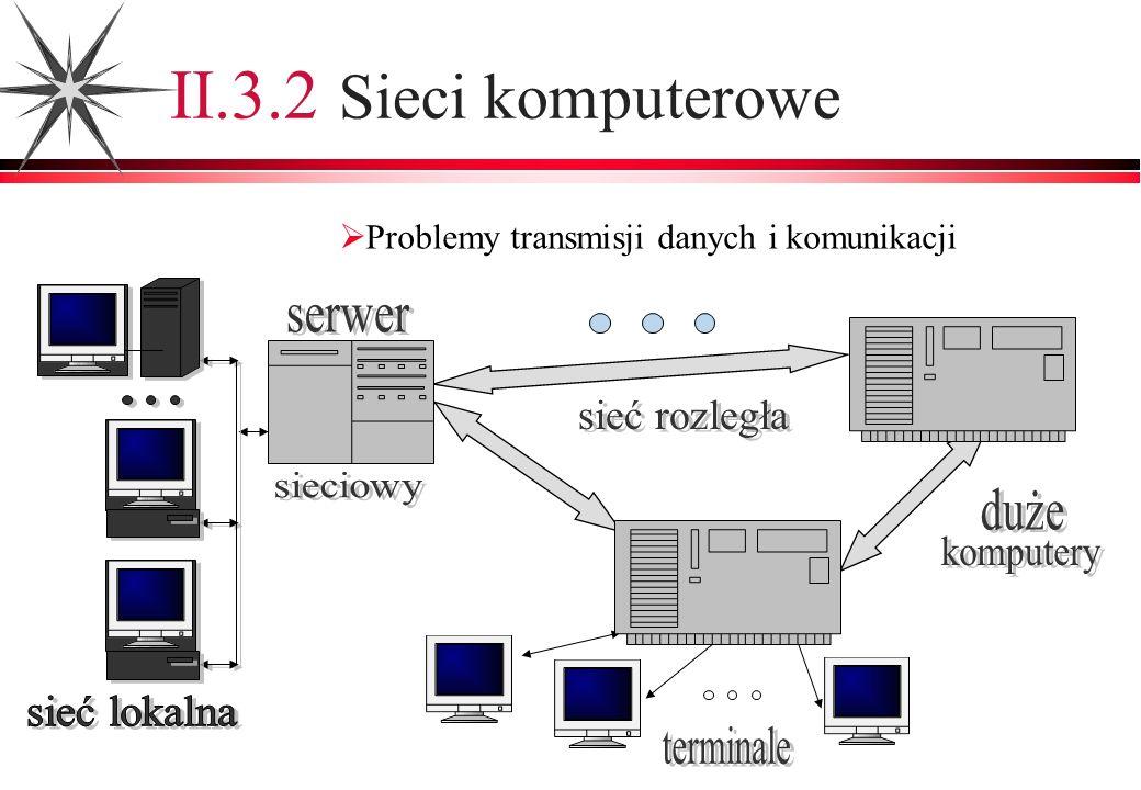 Problemy transmisji danych i komunikacji II.3.2 Sieci komputerowe