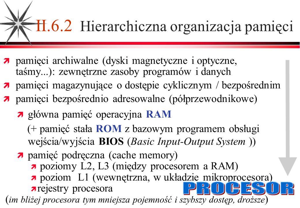 pamięci archiwalne (dyski magnetyczne i optyczne, taśmy...): zewnętrzne zasoby programów i danych pamięci magazynujące o dostępie cyklicznym / bezpośr