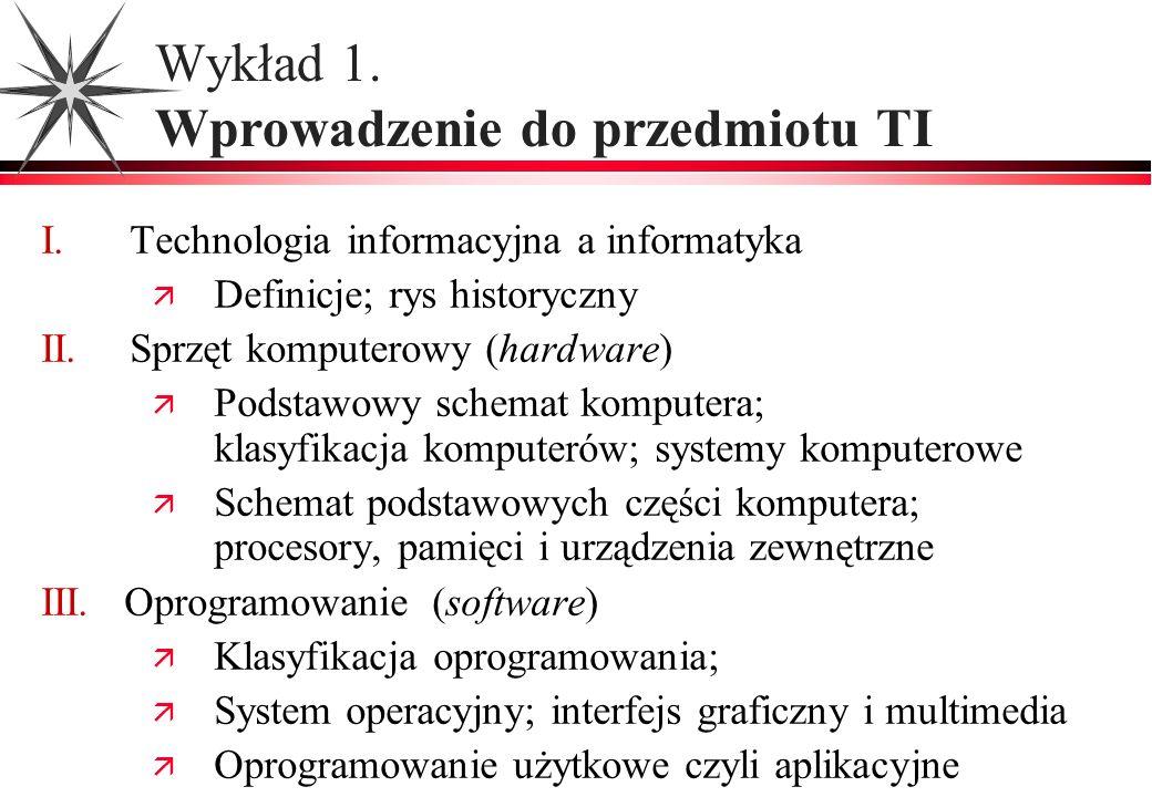 Wykład 1. Wprowadzenie do przedmiotu TI I. Technologia informacyjna a informatyka Definicje; rys historyczny II.Sprzęt komputerowy (hardware) Podstawo