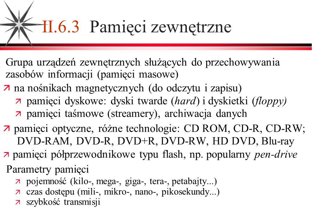 II.6.3 Pamięci zewnętrzne Grupa urządzeń zewnętrznych służących do przechowywania zasobów informacji (pamięci masowe) na nośnikach magnetycznych (do o