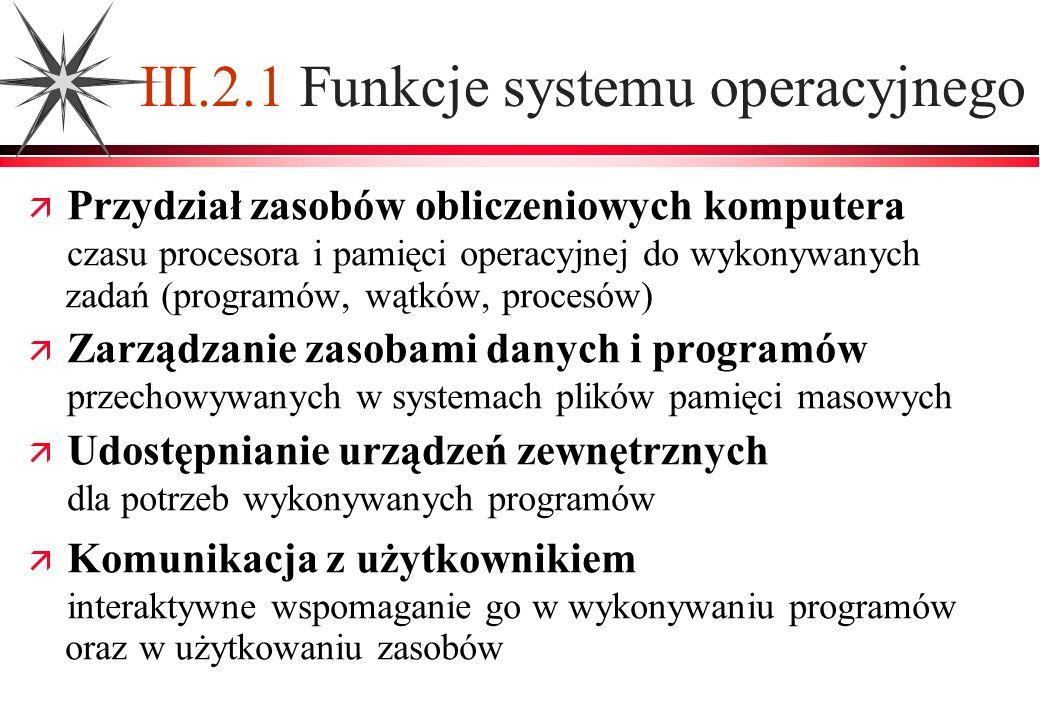 III.2.1 Funkcje systemu operacyjnego Przydział zasobów obliczeniowych komputera czasu procesora i pamięci operacyjnej do wykonywanych zadań (programów