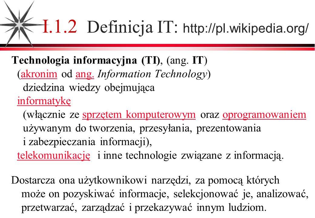 I.1.3 Geneza dziedziny IT Świat globalnej informacji i komunikacji Społeczeństwo informacyjne Nowe formy i źródła informacji – postęp w elektronice, telekomunikacji i informatyce Elektronika : techniczne możliwości tworzenia, zapisu, przechowywania, przesyłania i przetwarzania informacji Telekomunikacja : zdalny, powszechny dostęp do informacji Informatyka: środki i metody pracy z informacją w postaci elektronicznej znaczenie informacji rozwój IT +