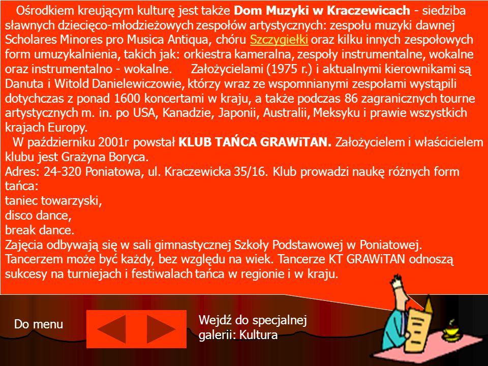 Ośrodkiem kreującym kulturę jest także Dom Muzyki w Kraczewicach - siedziba sławnych dziecięco-młodzieżowych zespołów artystycznych: zespołu muzyki da