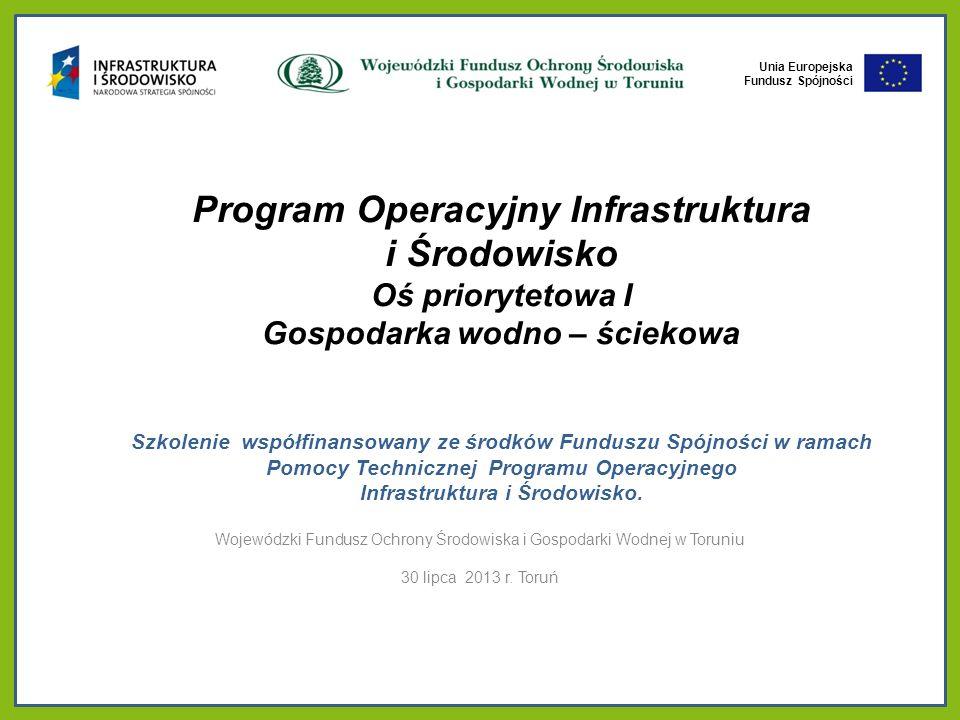 Unia Europejska Fundusz Spójności Unia Europejska Fundusz Spójności Program Operacyjny Infrastruktura i Środowisko Oś priorytetowa I Gospodarka wodno