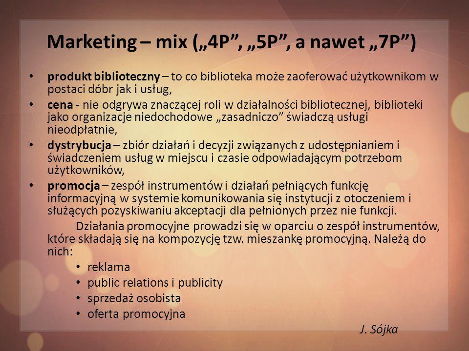 Marketing – mix (4P, 5P, a nawet 7P) personel - wszelkie działania realizuje zatrudniony w bibliotece personel i to od niego zależy powodzenie nie tylko we wdrażaniu koncepcji marketingowych, ale także w ogóle sukces całej instytucji, proces - postrzeganie działań w kategorii procesów, czyli następujących po sobie lub równoległych czynności, które prowadzą do spełnienia oczekiwań użytkownika przez dostarczenie mu usługi zgodnej z jego oczekiwaniami, świadectwo materialne - to materialne otoczenie procesu świadczenia usług, czyli wszystkie wizualne i materialne elementy takie jak budynek, wystrój wnętrza biblioteki, wyposażenie w sprzęt i meble, nawet wygląd personelu.