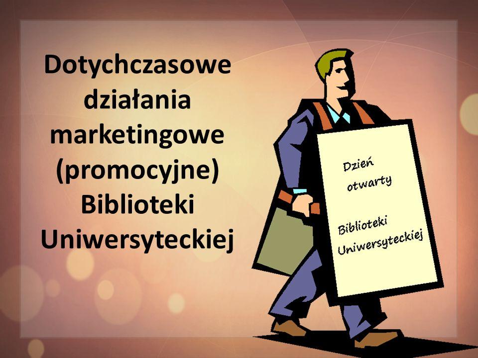 Reklama informacje o bibliotece na portalu Białystok Online, informator o bibliotece w wersji drukowanej, strona internetowa, jako źródło aktualnych informacji o organizacji pracy i ofercie biblioteki kierowanej do wszystkich grup użytkowników, ulotki reklamowe, krótkie informacje o działalności, materiały reklamowe m.in.