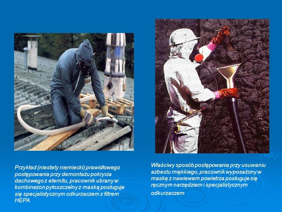 Właściwy sposób postępowania przy usuwaniu azbestu miękkiego, pracownik wyposażony w maskę z nawiewem powietrza posługuje się ręcznym narzędziem i specjalistycznym odkurzaczem Przykład (niestety niemiecki) prawidłowego postępowania przy demontażu pokrycia dachowego z eternitu, pracownik ubrany w kombinezon pyłoszczelny z maską posługuje się specjalistycznym odkurzaczem z filtrem HEPA