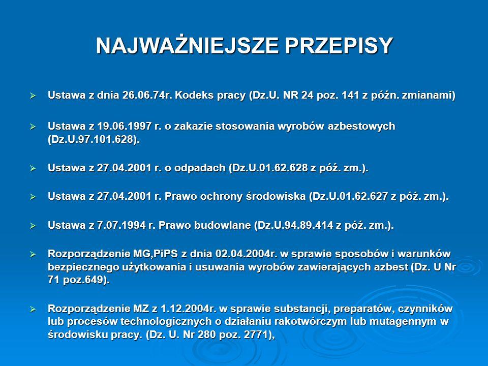 NAJWAŻNIEJSZE PRZEPISY (c.d) Rozporządzenie MP i PS z dnia 26.09.1997 w sprawie ogólnych przepisów bezpieczeństwa i higieny pracy (Dz.