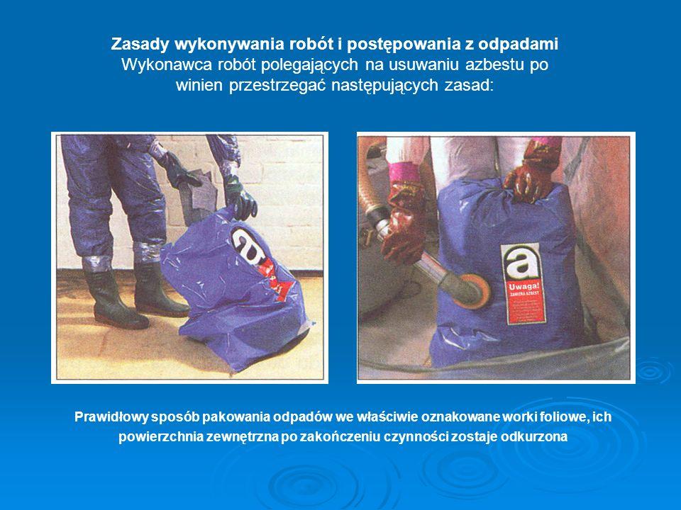 Zasady wykonywania robót i postępowania z odpadami Wykonawca robót polegających na usuwaniu azbestu po winien przestrzegać następujących zasad: Prawi