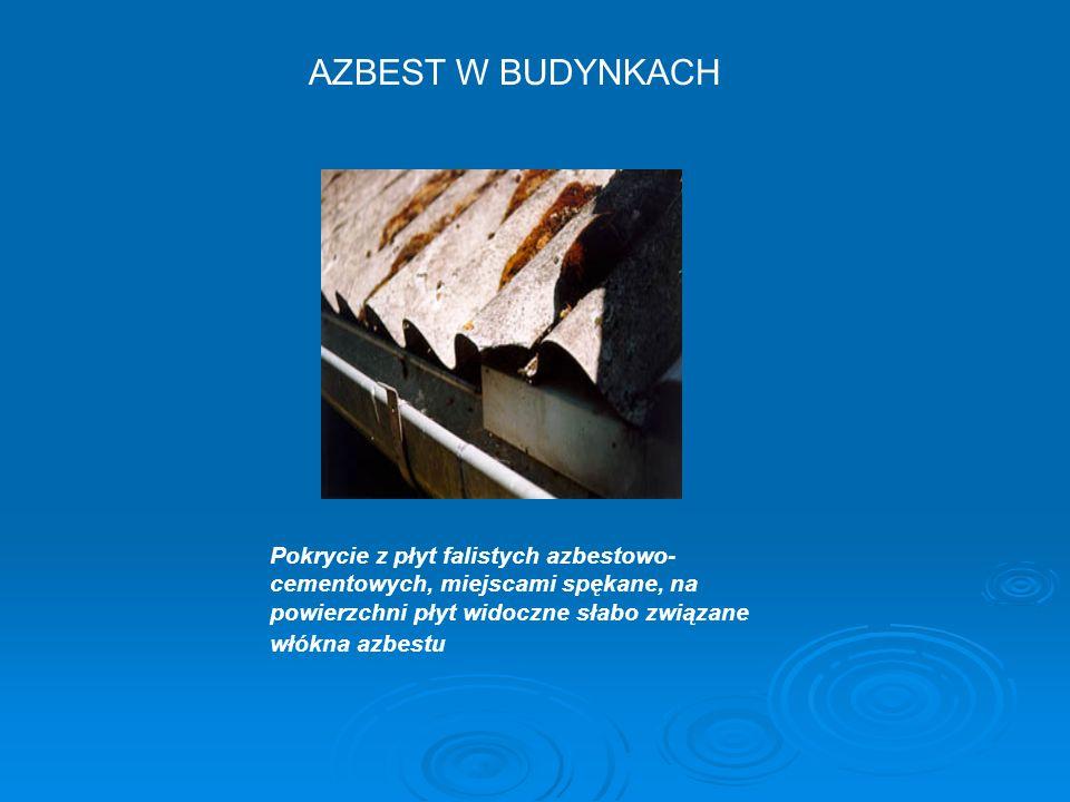 Pokrycie z płyt falistych azbestowo- cementowych, miejscami spękane, na powierzchni płyt widoczne słabo związane włókna azbestu AZBEST W BUDYNKACH