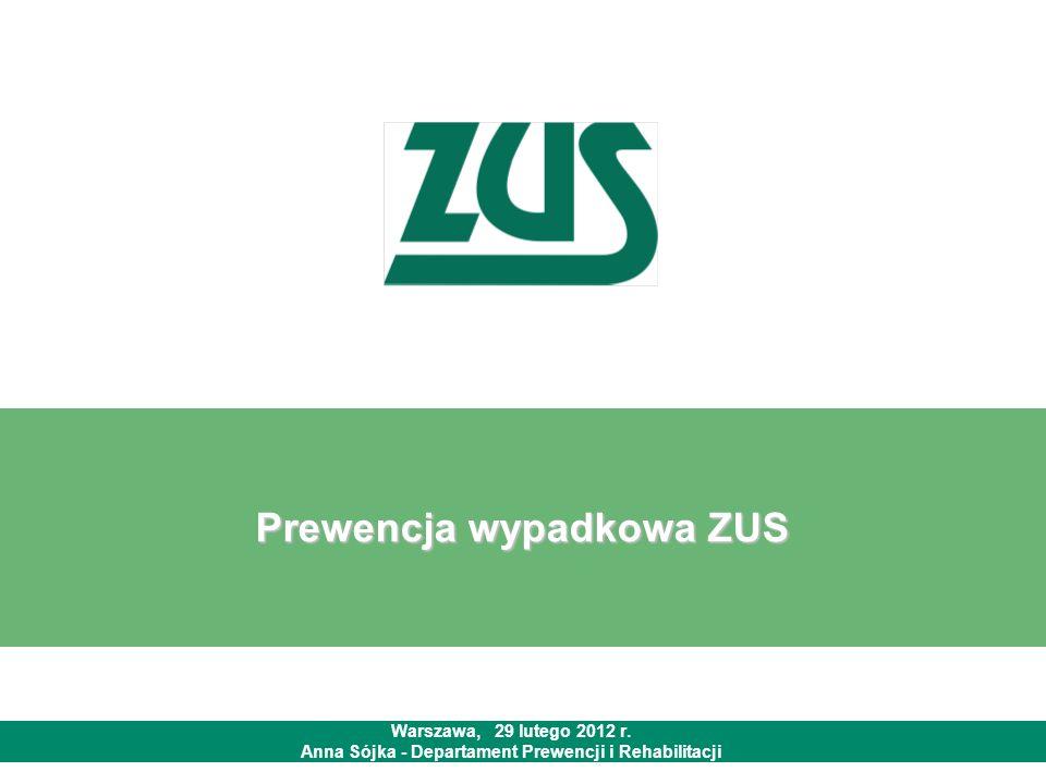 Prewencja wypadkowa ZUS Warszawa, 29 lutego 2012 r. Anna Sójka - Departament Prewencji i Rehabilitacji