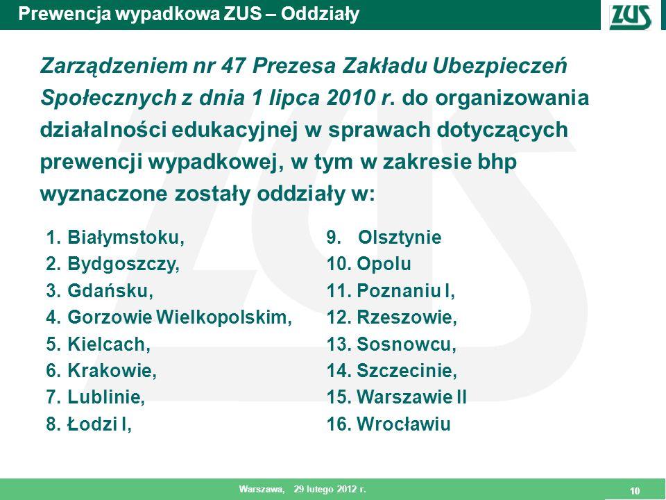 10 Warszawa, 29 lutego 2012 r. 10 Prewencja wypadkowa ZUS – Oddziały Zarządzeniem nr 47 Prezesa Zakładu Ubezpieczeń Społecznych z dnia 1 lipca 2010 r.