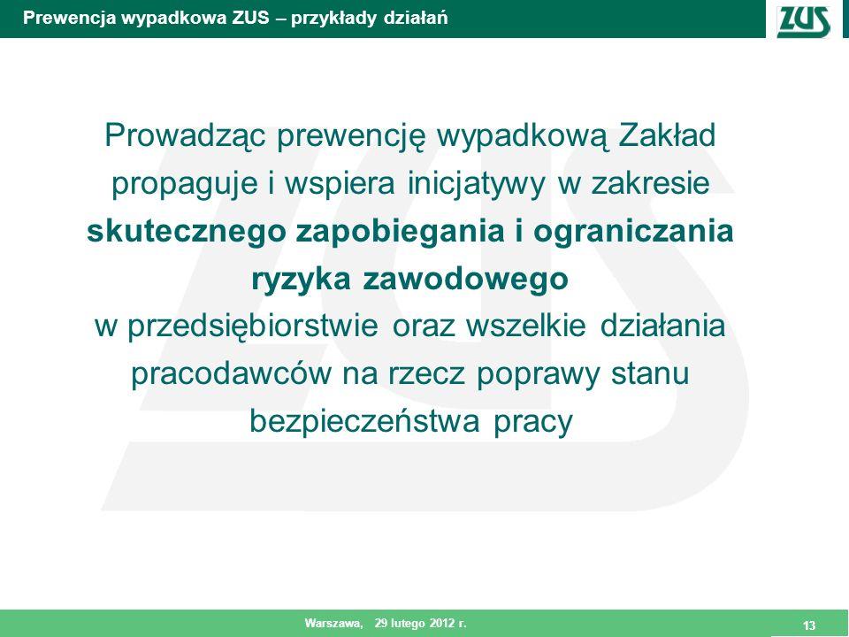 13 Warszawa, 29 lutego 2012 r. 13 Prewencja wypadkowa ZUS – przykłady działań Prowadząc prewencję wypadkową Zakład propaguje i wspiera inicjatywy w za