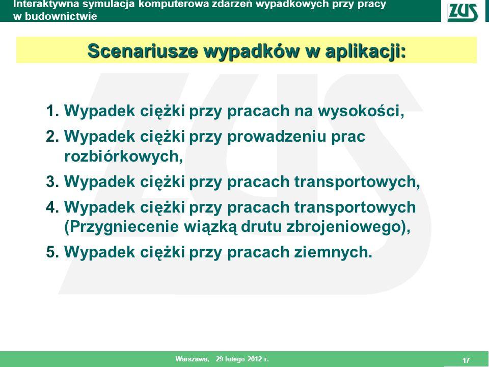 17 Warszawa, 29 lutego 2012 r. 17 Interaktywna symulacja komputerowa zdarzeń wypadkowych przy pracy w budownictwie 1.Wypadek ciężki przy pracach na wy