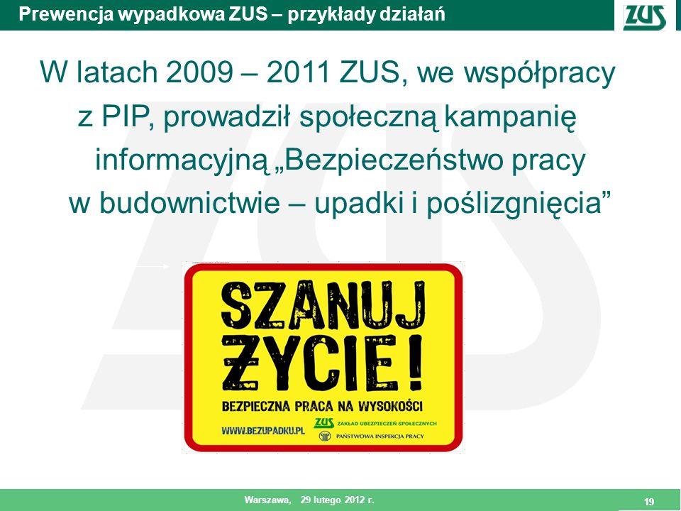 19 Warszawa, 29 lutego 2012 r. 19 Prewencja wypadkowa ZUS – przykłady działań W latach 2009 – 2011 ZUS, we współpracy z PIP, prowadził społeczną kampa