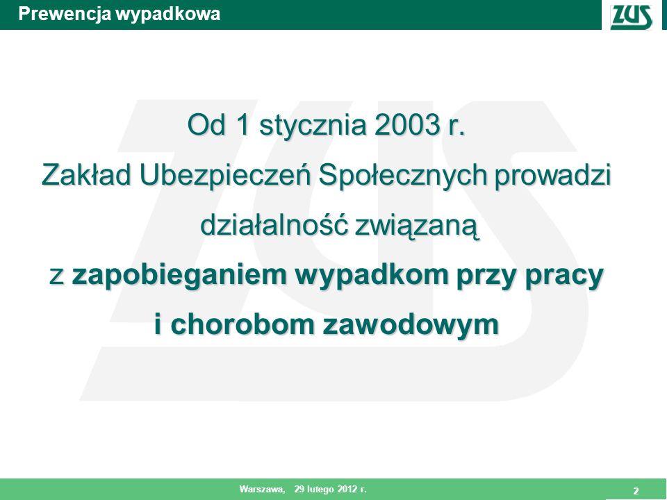 2 Warszawa, 29 lutego 2012 r. 2 Prewencja wypadkowa Od 1 stycznia 2003 r. Zakład Ubezpieczeń Społecznych prowadzi działalność związaną z zapobieganiem