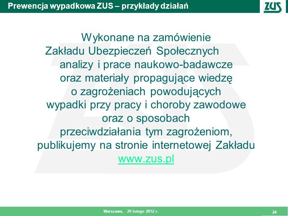 24 Warszawa, 29 lutego 2012 r. 24 Prewencja wypadkowa ZUS – przykłady działań Wykonane na zamówienie Zakładu Ubezpieczeń Społecznych analizy i prace n