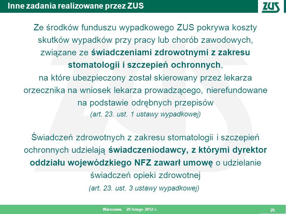 25 Warszawa, 29 lutego 2012 r. 25 Inne zadania realizowane przez ZUS Ze środków funduszu wypadkowego ZUS pokrywa koszty skutków wypadków przy pracy lu