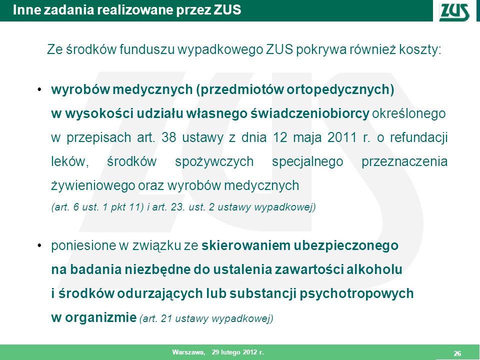 26 Warszawa, 29 lutego 2012 r. 26 Inne zadania realizowane przez ZUS Ze środków funduszu wypadkowego ZUS pokrywa również koszty: wyrobów medycznych (p