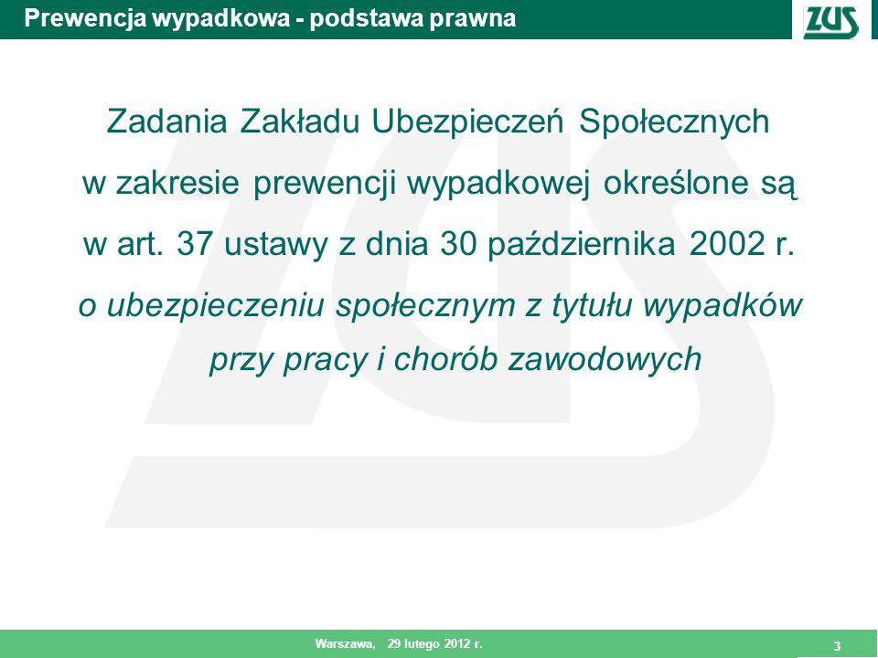 3 Warszawa, 29 lutego 2012 r. 3 Prewencja wypadkowa - podstawa prawna Zadania Zakładu Ubezpieczeń Społecznych w zakresie prewencji wypadkowej określon