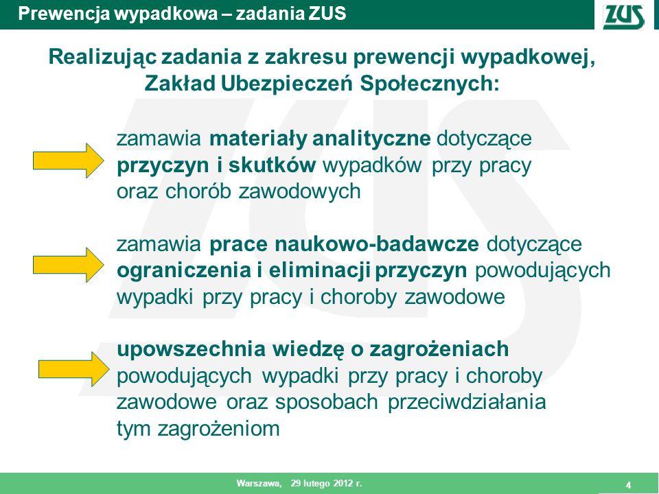 4 Warszawa, 29 lutego 2012 r. 4 Prewencja wypadkowa – zadania ZUS Realizując zadania z zakresu prewencji wypadkowej, Zakład Ubezpieczeń Społecznych: z