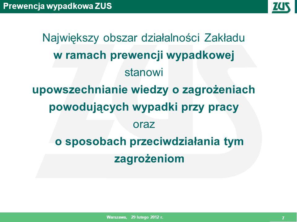 7 Warszawa, 29 lutego 2012 r. 7 Prewencja wypadkowa ZUS Największy obszar działalności Zakładu w ramach prewencji wypadkowej stanowi upowszechnianie w
