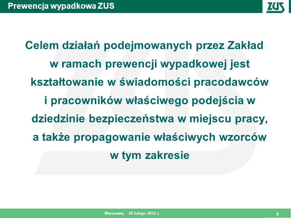 8 Warszawa, 29 lutego 2012 r. 8 Prewencja wypadkowa ZUS Celem działań podejmowanych przez Zakład w ramach prewencji wypadkowej jest kształtowanie w św