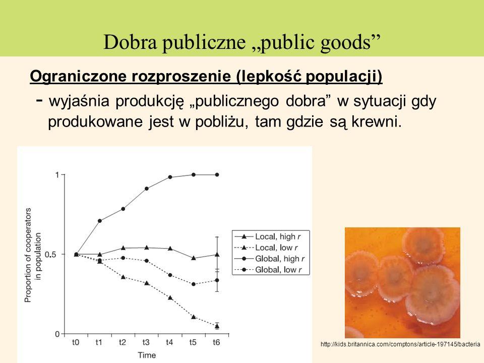 Ograniczone rozproszenie (lepkość populacji) - wyjaśnia produkcję publicznego dobra w sytuacji gdy produkowane jest w pobliżu, tam gdzie są krewni. ht