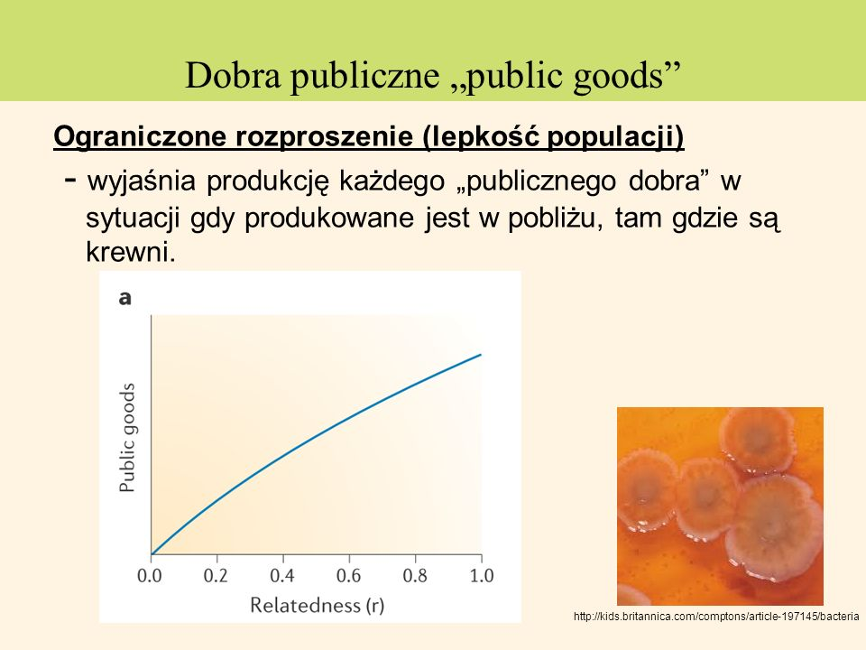 Dobra publiczne public goods Ograniczone rozproszenie (lepkość populacji) - wyjaśnia produkcję każdego publicznego dobra w sytuacji gdy produkowane je
