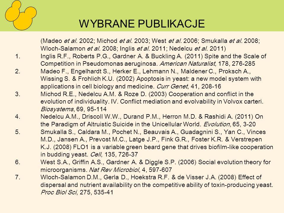 WYBRANE PUBLIKACJE (Madeo et al. 2002; Michod et al. 2003; West et al. 2006; Smukalla et al. 2008; Wloch-Salamon et al. 2008; Inglis et al. 2011; Nede