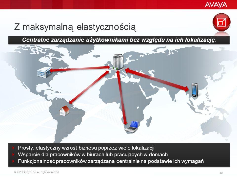 © 2011 Avaya Inc. All rights reserved. 10 Z maksymalną elastycznością Centralne zarządzanie użytkownikami bez względu na ich lokalizację. Prosty, elas