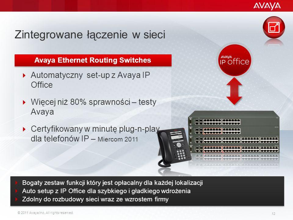 © 2011 Avaya Inc. All rights reserved. 12 Zintegrowane łączenie w sieci Automatyczny set-up z Avaya IP Office Więcej niż 80% sprawności – testy Avaya