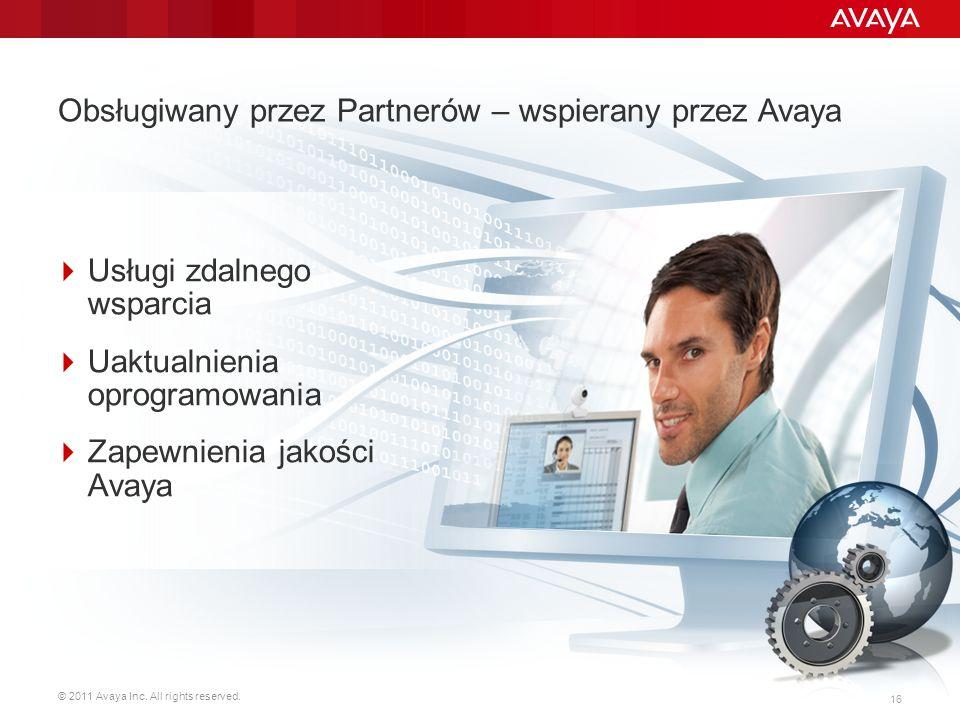 © 2011 Avaya Inc. All rights reserved. 16 Usługi zdalnego wsparcia Uaktualnienia oprogramowania Zapewnienia jakości Avaya Obsługiwany przez Partnerów