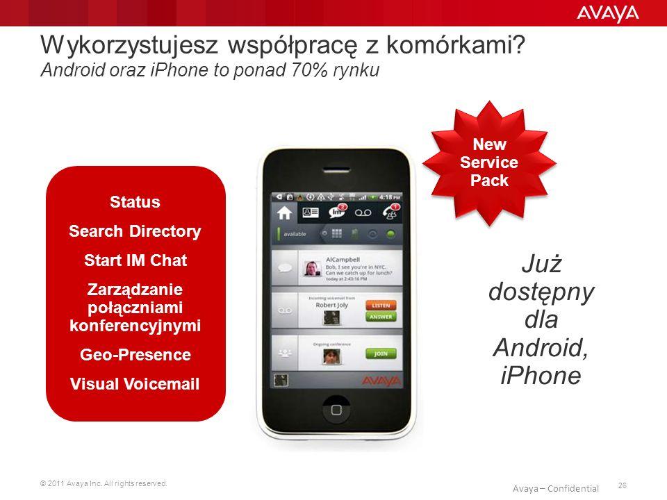© 2011 Avaya Inc. All rights reserved. 26 Avaya – Confidential Wykorzystujesz współpracę z komórkami? Android oraz iPhone to ponad 70% rynku New Servi