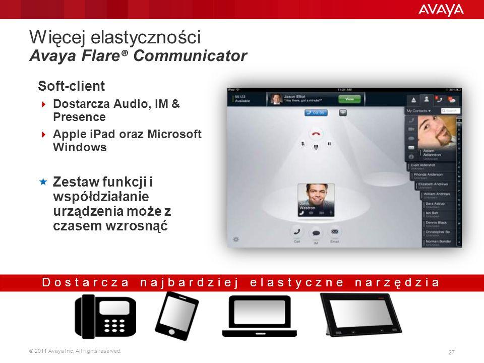 © 2011 Avaya Inc. All rights reserved. 27 Więcej elastyczności Avaya Flare ® Communicator Soft-client Dostarcza Audio, IM & Presence Apple iPad oraz M