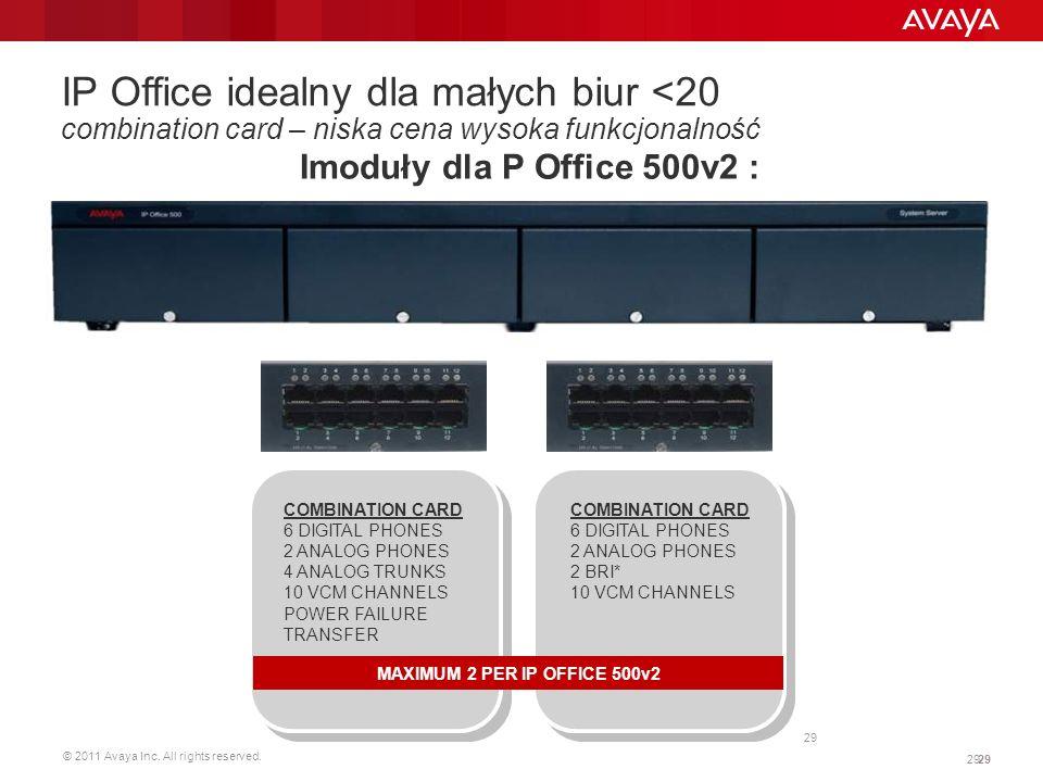 © 2011 Avaya Inc. All rights reserved. 29 IP Office idealny dla małych biur <20 combination card – niska cena wysoka funkcjonalność Imoduły dla P Offi