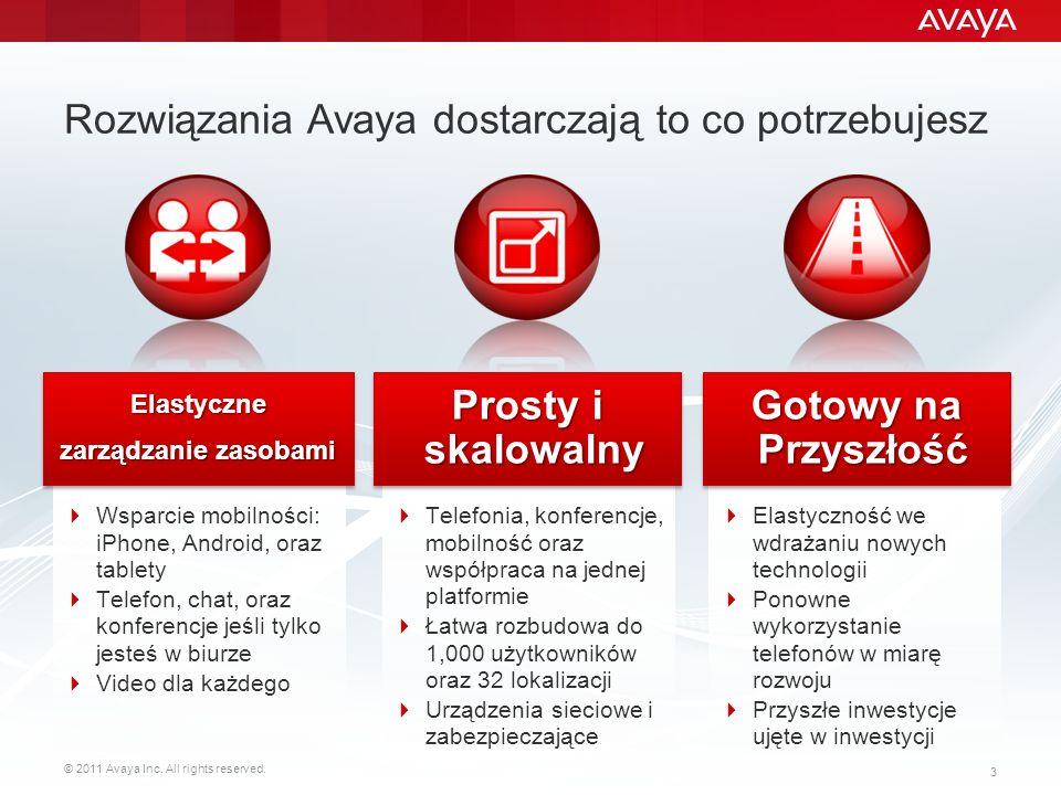 © 2011 Avaya Inc. All rights reserved. 3 Rozwiązania Avaya dostarczają to co potrzebujesz Wsparcie mobilności: iPhone, Android, oraz tablety Telefon,