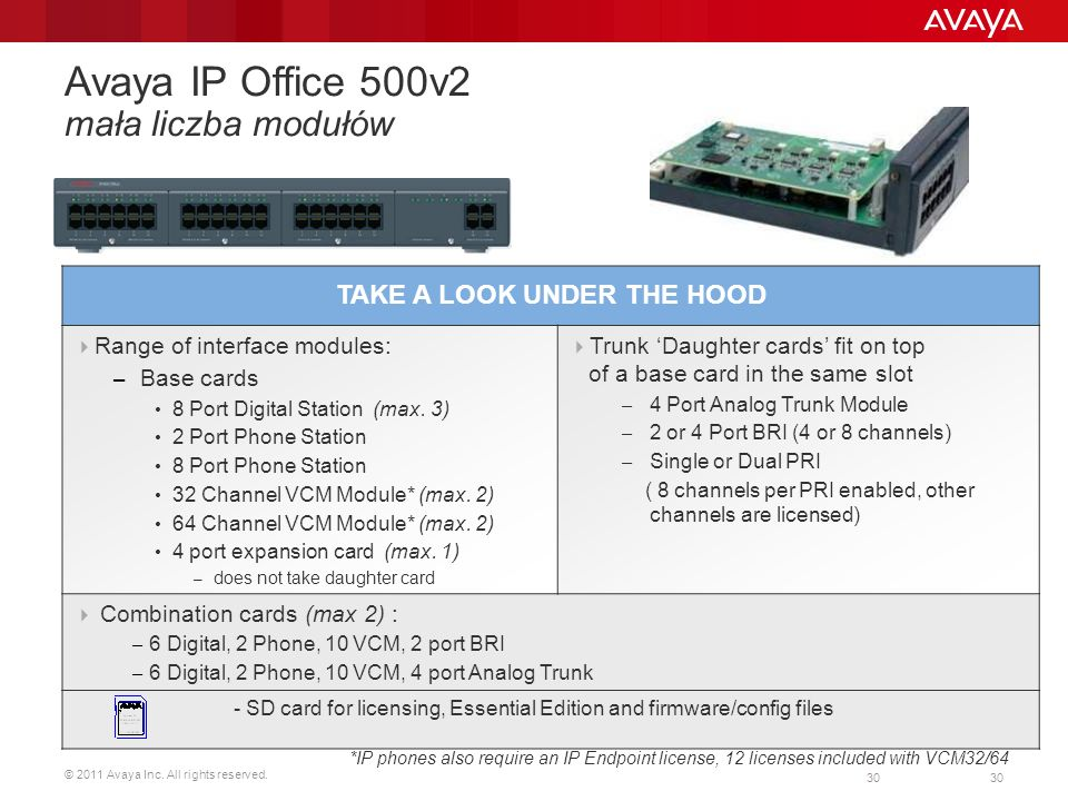 © 2011 Avaya Inc. All rights reserved. 30 Avaya IP Office 500v2 mała liczba modułów TAKE A LOOK UNDER THE HOOD Range of interface modules: – Base card